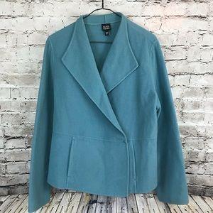Eileen Fisher Blue Cashmere Blazer Jacket Sweater